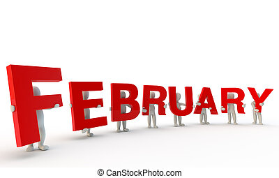 February - 3D humans forming red word February made from 3d...