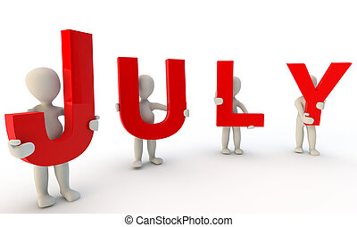 July - 3D humans forming red word July made from 3d rendered...