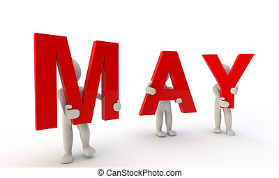 3D humans forming red word May made from 3d rendered letters isolated on white