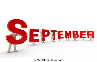 September - 3D humans forming red word September made from...