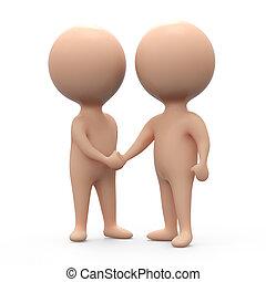3d Humans shake hands