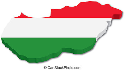 3D Hungary map with flag