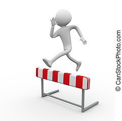 3d Hurdle Jump - 3d man jumping over the hurdle