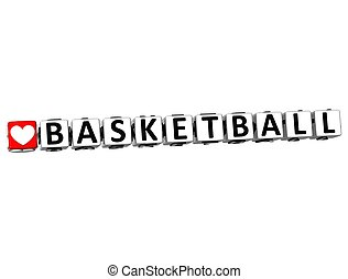 3D I Love Basketball Game Button Block text on white...