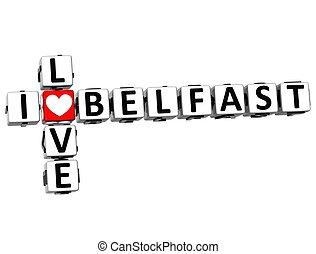 3D I Love Belfast Crossword on white background