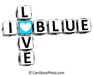 3D I Love Blue Crossword