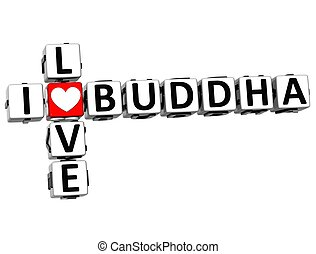 3D I Love Buddha Crossword on white background