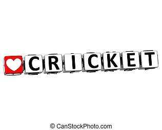 3D I Love Cricket Game Button Block text on white background