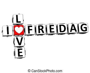 3D I Love Friday in Norwegian Language Crossword
