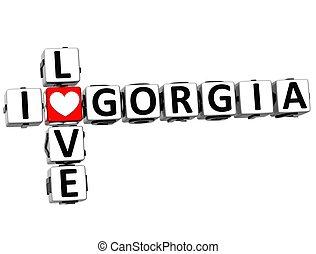 3D I Love Gorgia Crossword on white background