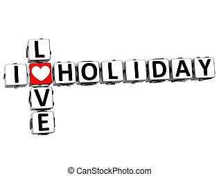 3D I Love Holiday Crossword