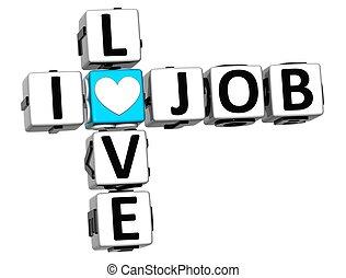 3D I Love Job Crossword Block text