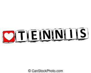 3D I Love Tennis Game Button Block text on white background