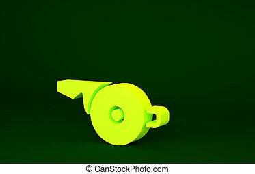 3d, icône, symbole., siffler, sport, render, isolé, illustration, jaune, fitness, arrière-plan., concept., minimalisme, signe., vert, arbitre