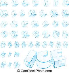 3d ice alphabet - fully editable vector 3d ice alphabet -...