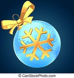 3d ice blue Christmas ball
