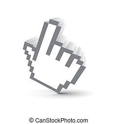 3d icon - 3d hand mouse symbol