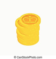 3D icon for a stack of gold coins with crown on top. Vector illustration. Winner award. Best choice badge.