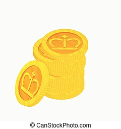 3D icon for a stack of gold coins with gold crown on top. Winner award. The best choice badge. Vector illustration.