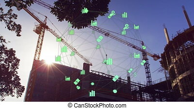 3D icon network with construction site background