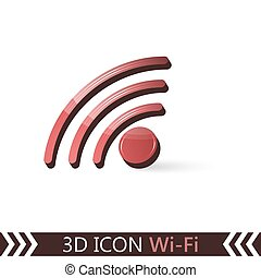 3D icon Wi-Fi. - 3D icon Wi-Fi isolated on white background....