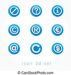 3d icons set flat