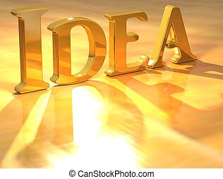 3D Idea Gold text over yellow background