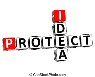 3D Idea Protect Crossword on white background