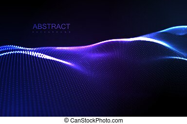 3D illuminated abstract digital wave of glowing particles.