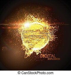 3D illuminated distorted sphere
