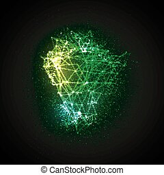 3D illuminated glowing particles array and laser wireframe. ...