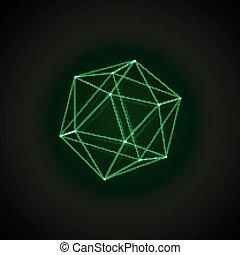 Forme platonique illuminée en 3D sur des particules incandescentes et ...