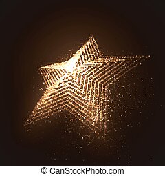 3D illuminated star shape of glowing particles