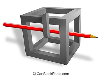 3D Illusion - red pencil pass throught the grey cube with...
