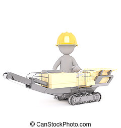 3D illustrated construction worker sits in machine
