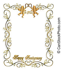 50th Anniversary - 3D Illustrated design for party, wedding...