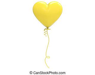 3d, illustratie, gele, balloon, hart