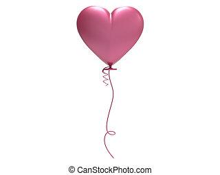 3d, illustratie, roze, balloon, hart