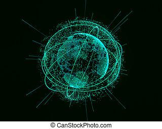 3d, illustratie, van, digitale , feitelijk, planeet land
