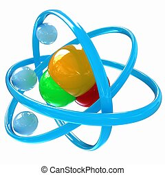 3d, illustratie, van, een, water, molecule