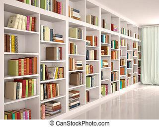 3d, illustratie, van, witte , bookshelves, met, gevarieerd, kleurrijke, boekjes