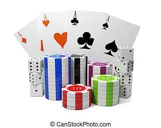3d, illustration:, בידור, gambling., שבבים, ו, לשחק כרטיסים,...