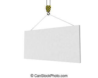 3d, illustration:, 做廣告, 徵候。, the, 起重機, 舉起, the, whiteboard