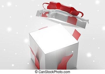 3d-illustration, 開いた, 雪, プレゼント, クリスマス