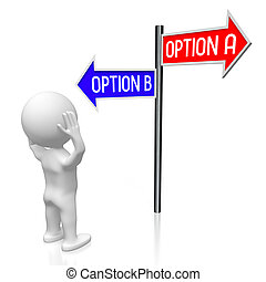 3D illustration/ 3D rendering - crossroads concept - option A and B