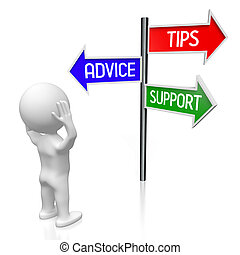 3D illustration/ 3D rendering - signpost with three arrows - advice concept