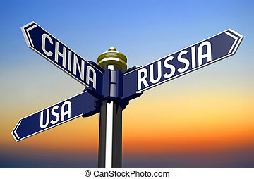 3D illustration/ 3D rendering - signpost with three arrows - Usa, Russia and China