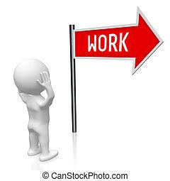 3D illustration/ 3D rendering - work signpost