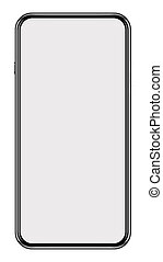 3d illustration a black modern frameless smartphone with blank screen isolated on white background