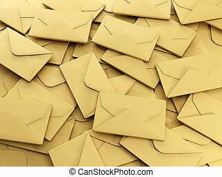 3d illustration: A group of envelopes